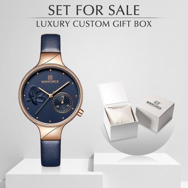 נשים שעוני יוקרה מותג NAVIFORCE קוורץ גבירותיי שעון שמלת שעון יד תאריך שעון עם תיבת סט למכירה Relogio Feminino