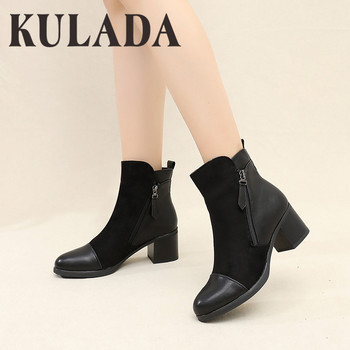 KULADA Boots Women Double Zippers Ankle Boots Women Suede Leather Boots Women High Heels Thick Soles Basic Botas Mujer 2016 real image camouflage fashion boots cheap custom made high thin heels buckle strap zapatos mujer botas mujer ankle boots