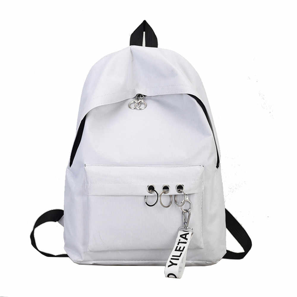45# Women Backpacks for Teenage Girls Ring Decoration Shoulder Bookbags Satchel Travel Women Anti Theft  Backpack Rucksack