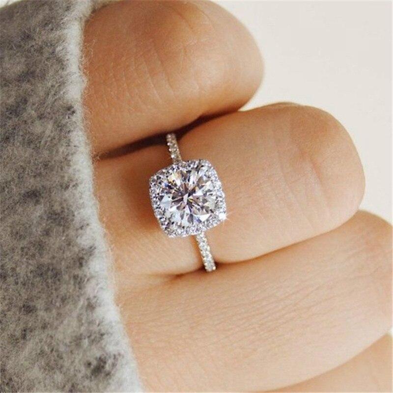 Anillos de Compromiso de boda para mujer, sortija de circonia cuadrada con Joyas con piedras de Color plateado, anillo femenino de adhesión R531