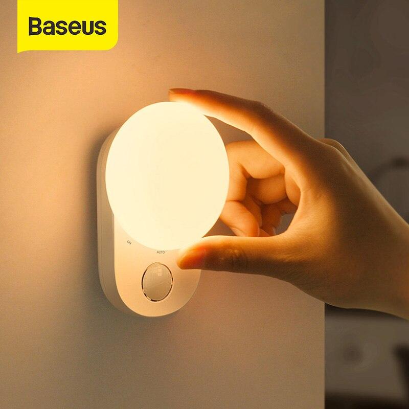 Baseus LED veilleuse magnétique capteur de mouvement lumière USB Rechargeable humain Induction appliques décor lune lampe pour chambre