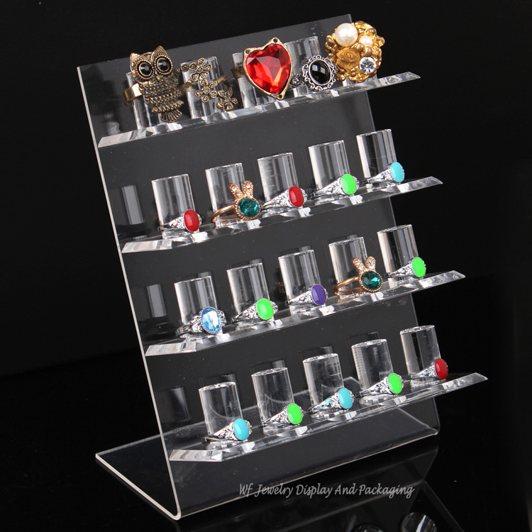Acrylic High Quality 4-Layer  Ring Display Stand 20-Rings Holders Ring Organizer Jewelry Display Rack Shelf Ring Bracket