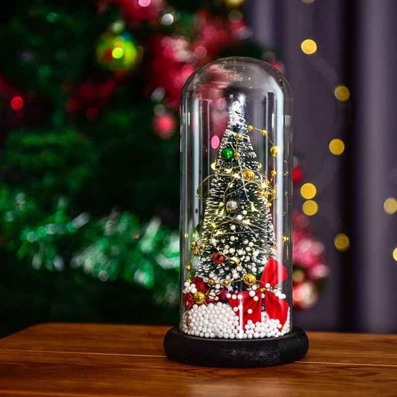 Светодиодный светильник со стеклянным куполом для рождественской елки, сказочный светильник, домашний декор для спальни, настольный ночник, рождественский подарок