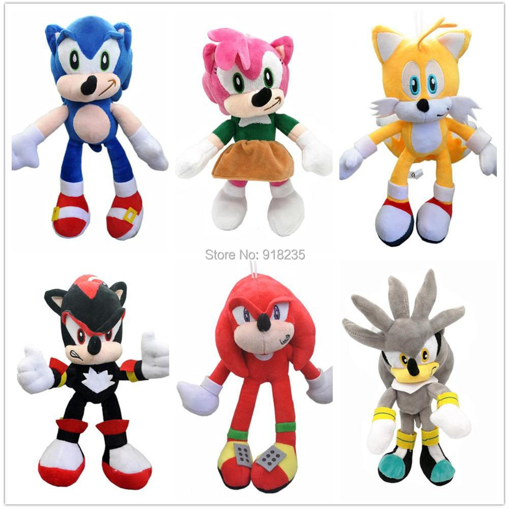 Silver Sonic The Hedgehog Plush Toy Tails Knuckles The Echidna Shadow Doll 4pcs