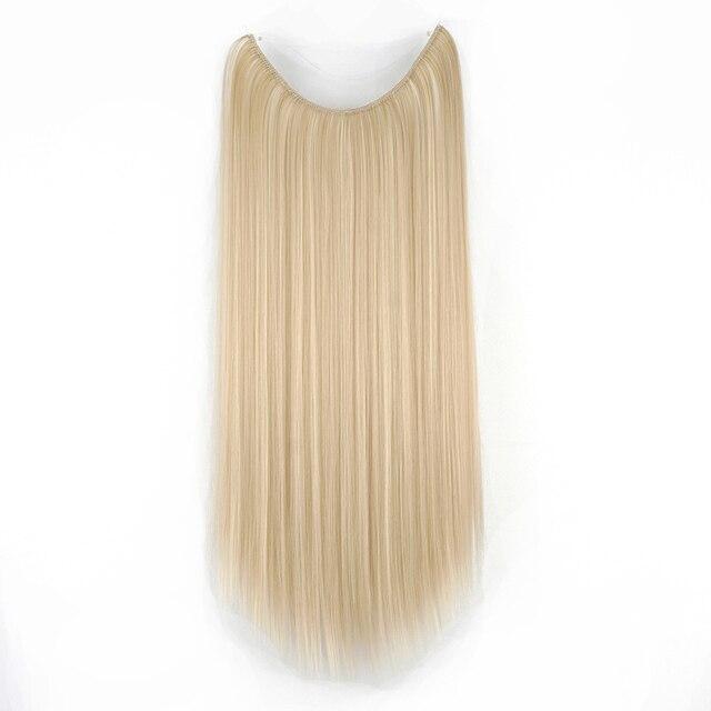 Soowee-extensiones de cabello sintético liso, largo, gris, negro, Rubio, línea de pescado, Halo, accesorios invisibles para el cabello