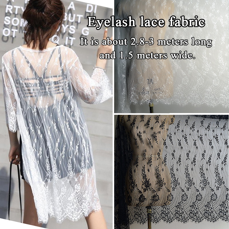 Eyelash Lace Fabric Handmade DIY Embroidery Mesh Fabric Dress Decorative Material Black And White Soft And Delicate
