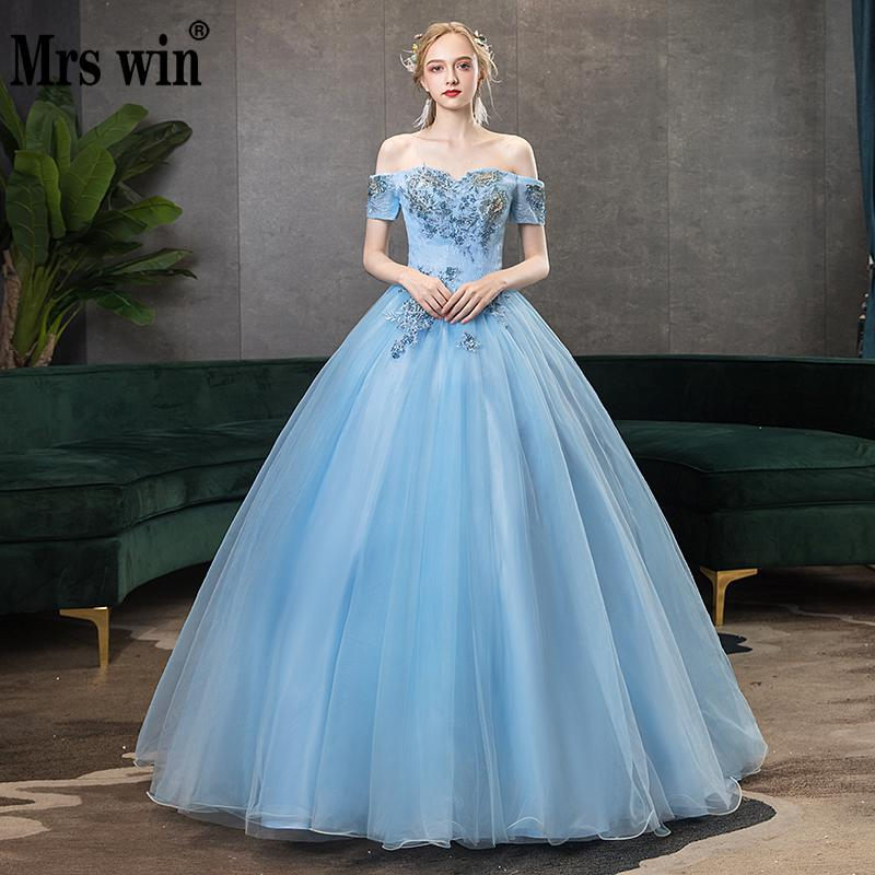 Mrs Win Quinceanera Dresses 2020 New The Party Sexy V-neck Ball Gown Off The Shoulder Vintage Lace Embroidery Prom Formal Dress