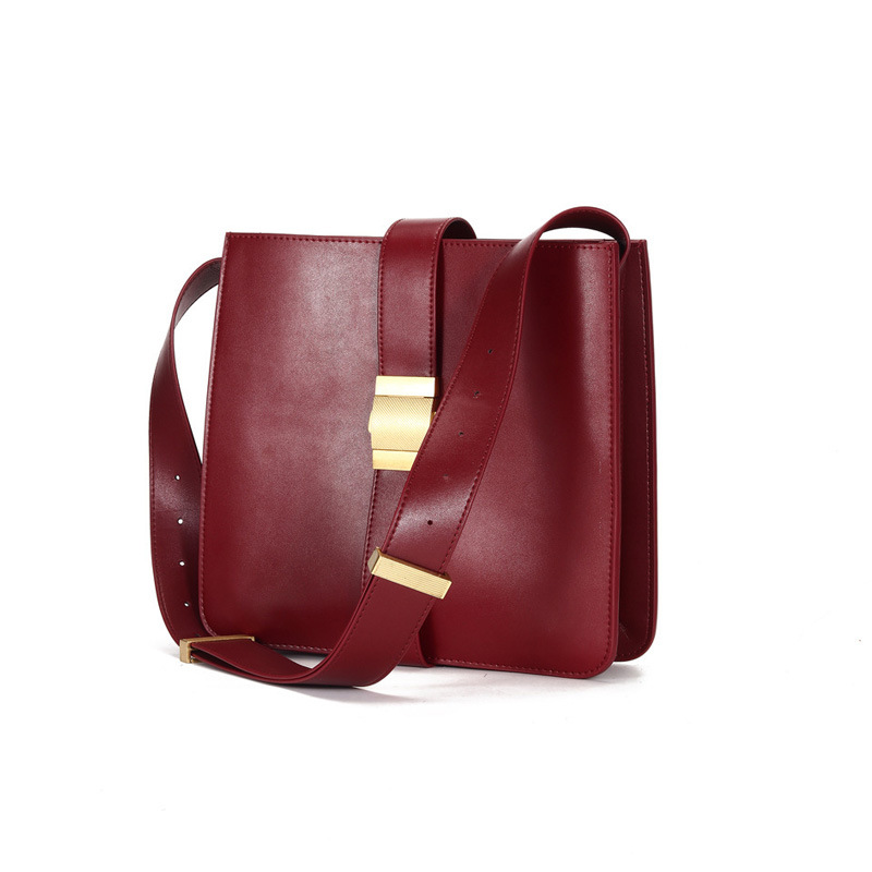 WOMEN'S Leather Bags Cowhide Shoulder Bag Women's 2019 Autumn And Winter New Style Retro Lock Bucket Bag Large Capacity