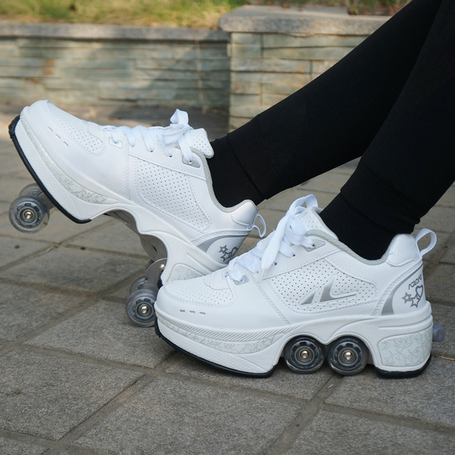 Hot Shoes Casual Sneakers Walk Roller Skates Deform Runaway Four Wheeled Skates for Adult Men Women Unisex Child 5