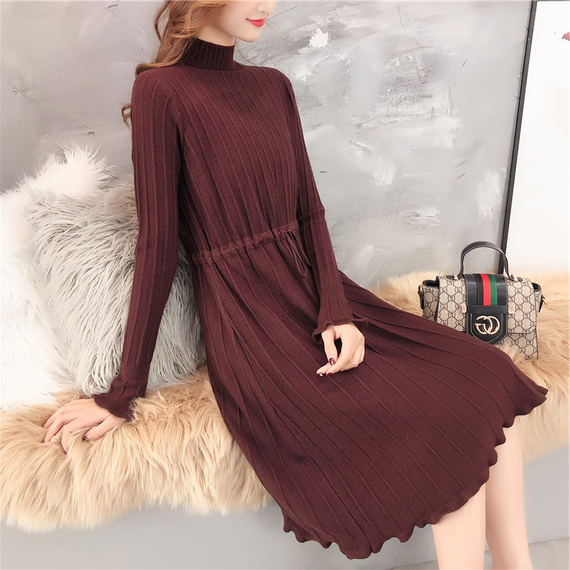 SINGRAIN Winter Women Pleated Knitted Dress Elegant Solid Turtleneck Dress Long Sleeves Knitting Dress Striped Sweater Dress 56