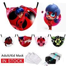 Joaninha impressão crianças máscaras reutilizáveis lavável respirável adulto máscara facial ao ar livre unisex à prova de poeira máscara de boca mascarilla