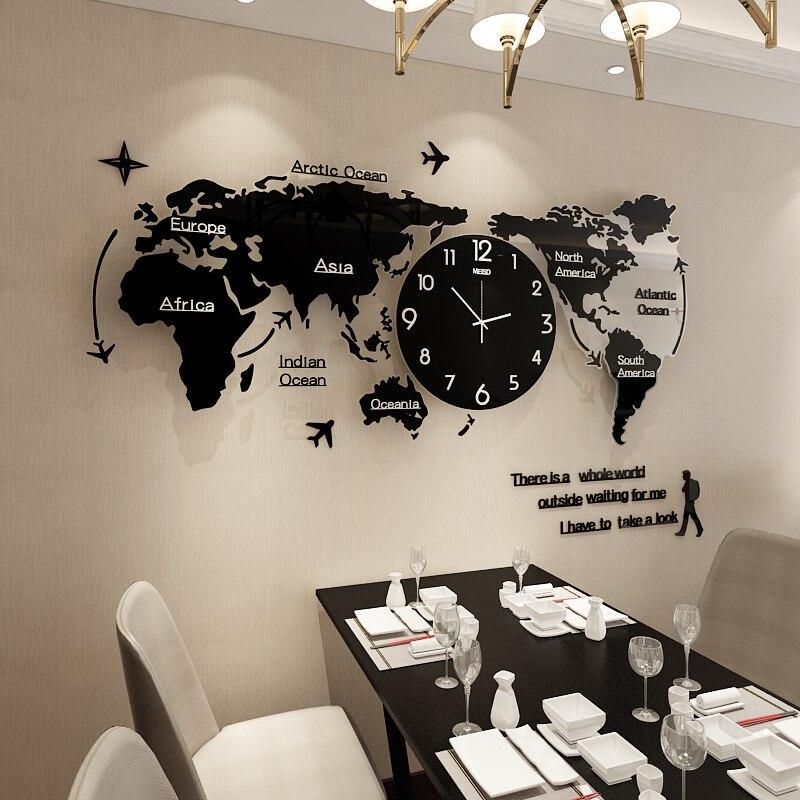 Grande horloge murale créative pour salon carte du monde montre murale nouveauté Simple Style nordique Reloj Animal Mandelda mode GG50gz