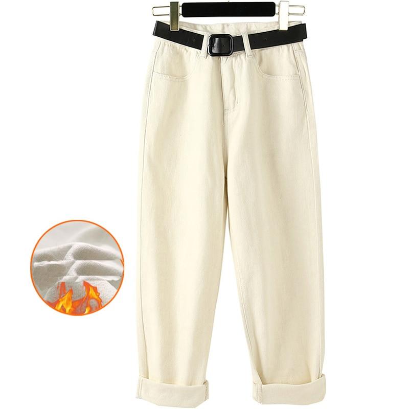 SHIJIA High Waist Sashes Pockets Solid Women Loose Denim Pants 2019 Winter Warm Thicken Velvet Female Straight Leg Jeans Pants