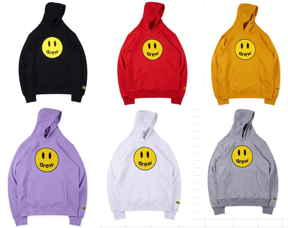 Embroidery Hoodie Sweatshirt Drew-House Face Secret Justin Bieber Smiley 19SS 1:1 Casual