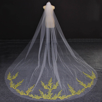Gold Lace Appliques Long Wedding Veil 3 Meters White Ivory Tulle Cathedral Bridal Veil with Comb One Layer Veil for Bride