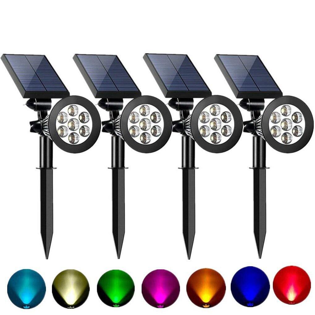 7 LED Adjustable Solar Spot Lights Automatic Color Changing Garden Light IP65 Waterproof Outdoor Yard Lamp Solar Lawn Light