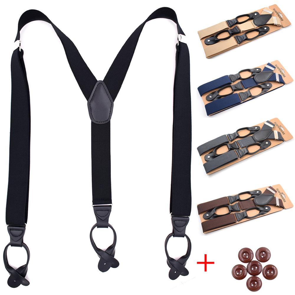 Suspenders For Men Y-Back PU Leather Trimmed Button End Men's Wedding Tuxedo Braces Suspenders Gifts For Father Husband
