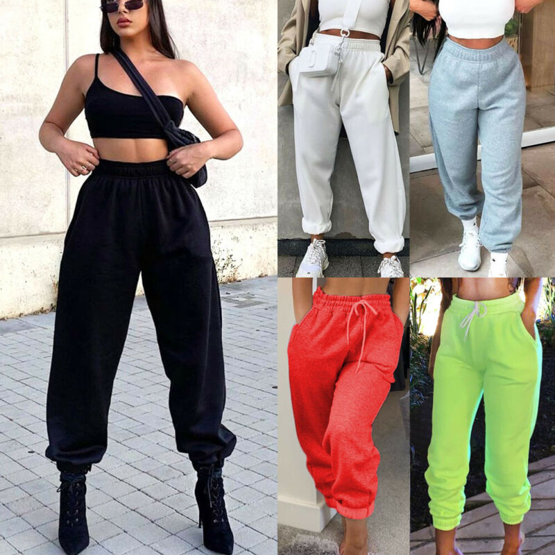 Fashion Women Pants Joggers Trousers Tracksuit Bottoms Jogging Gym Sweat Pants Lounge Wear Streetwear