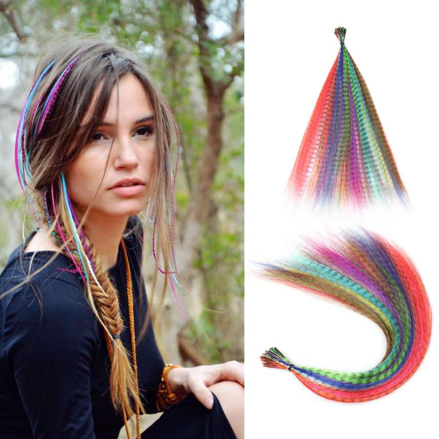 Colored Strands of Hair Extension False Rainbow Overhead Fake Coloring feather for Hair Synthetic