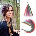Цветные пряди для наращивания волос, искусственные радужные накладные Окрашенные Перья для волос, синтетические