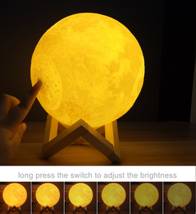 Image 5 - Moon Lamp Night Light 3D Print Moonlight Timeable LED Dimmable Rechargeable Bedside Table Desk Lamp Dropship