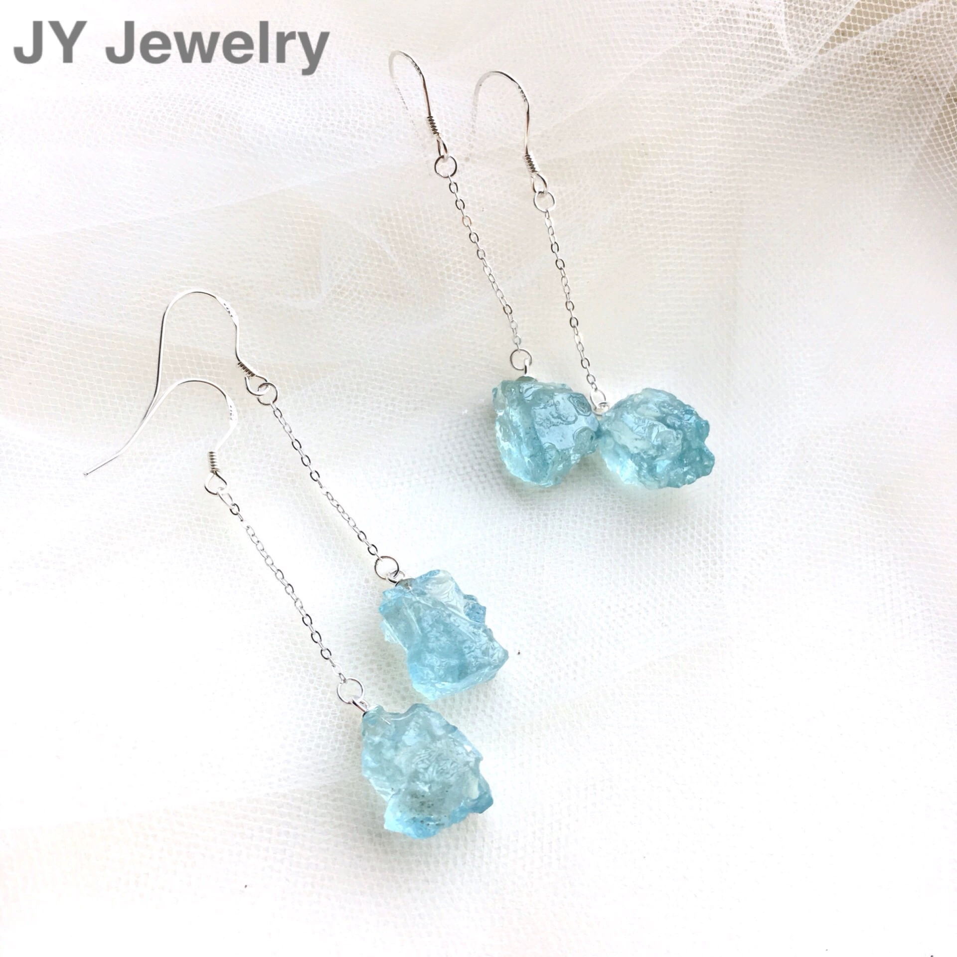 Genuine Natural Blue Aquamarine Raw Material Earrings For Fashion Women Lady Gift 16x10mm Sterling Earring AAAAA Certificate