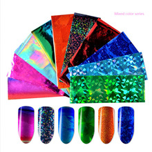 10pcs/Set Laser nail art decals Sheets Nail Art Foils Shinning Mixed Beauty Transfer Tips Sticker Craft DIY  Decorations