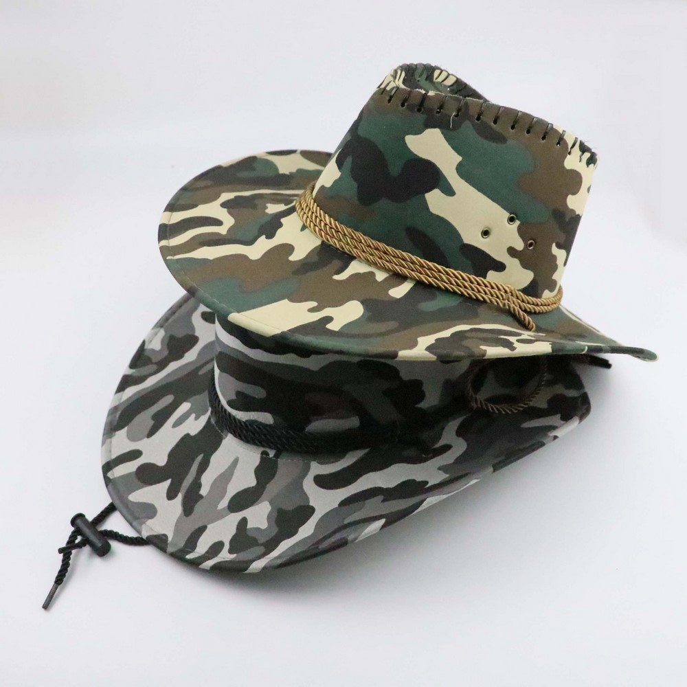 Four Seasons Unisex Cowboy Hats Casual Style Polyester Camouflage Print Large Brim Sunshade Outdoor Travel Fishing Cool Caps