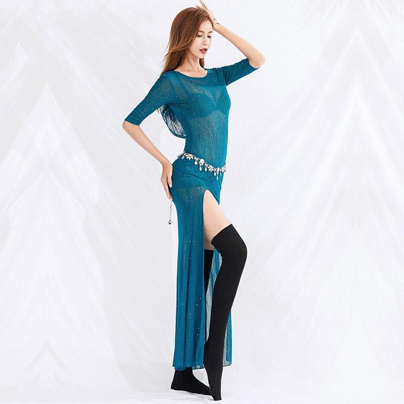 New Belly Dance Practice Clothing Female Oriental Dance Performance Dress Women Belly Dance Blue/Red/Black Long Skirt DQL2484