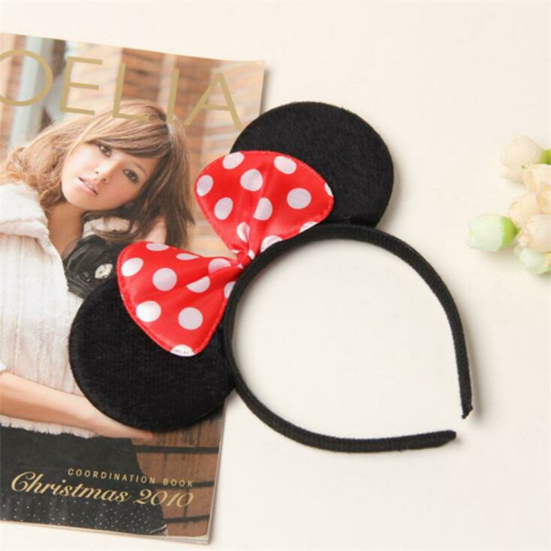 Minnie Mickey Mouse Headband Cute Pink Red Ear Headband Bow Hair Accessories For Girl Birthday Party Valentines Head Decoration