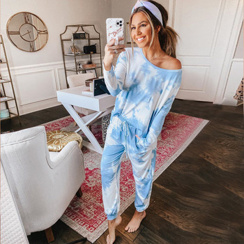 Lounge Wear Two Piece Set Pants O Neck Tie Dye Women Tracksuit Casual Oversized Suit Female Summer 2020 Pullover Matching Sets tie dye two piece set women tracksuit fitness summer casual outfits crop top stacked pants sweat suit lounge wear matching sets