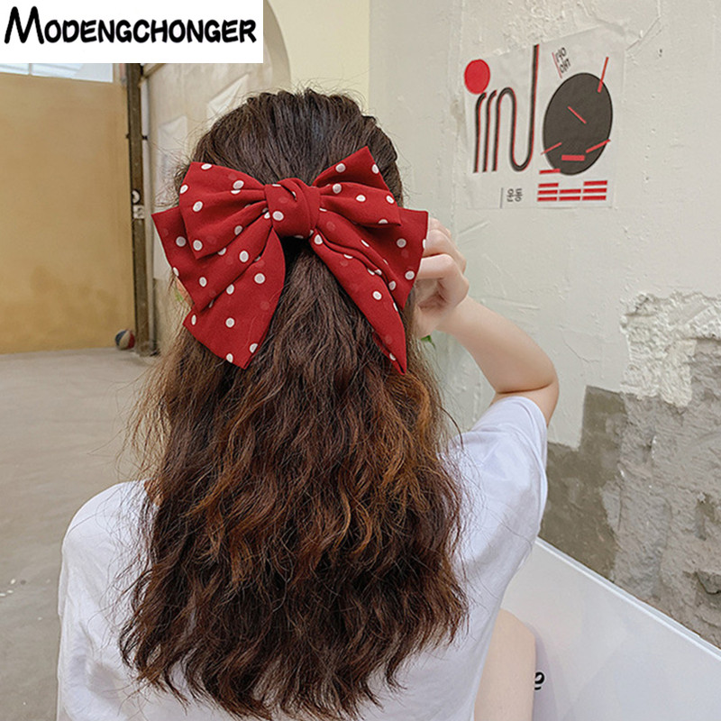 Large Barrettes Three Levels Chiffon Hair Bow Wave Point Hair Clip For Women Girls Hairgrips Sweet High Quality Hair Accessories
