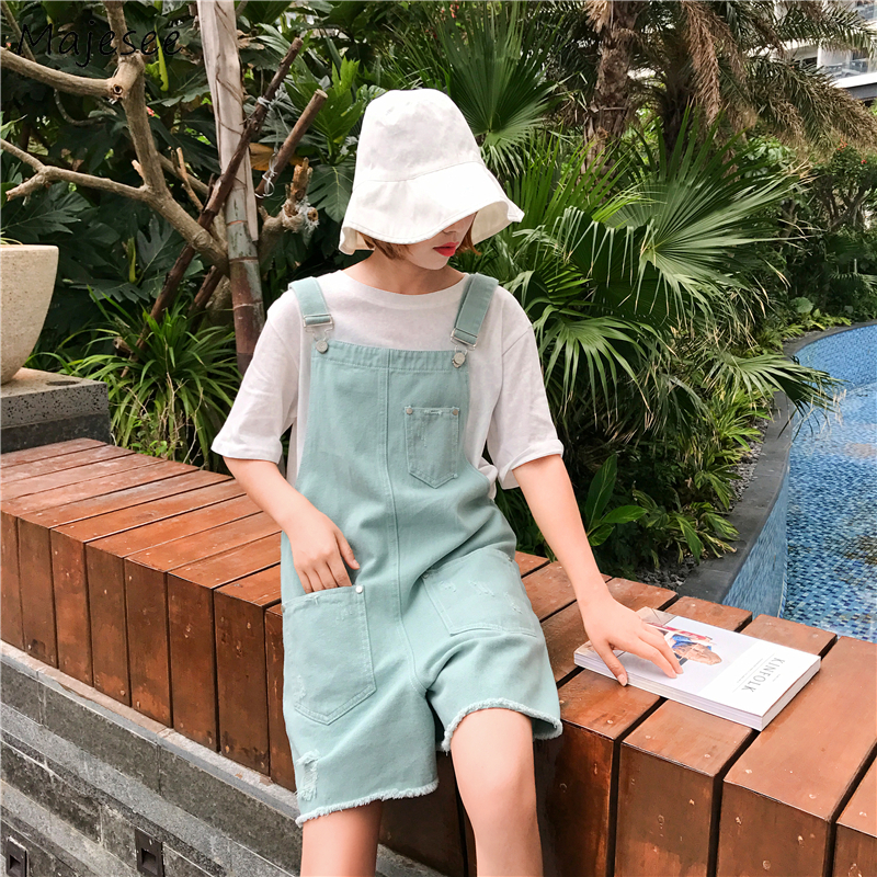 Rompers Women Summer Kawaii Chic Loose High Student Simple All-match Korean Style Harajuku Pockets Womens Overalls Casual Denim