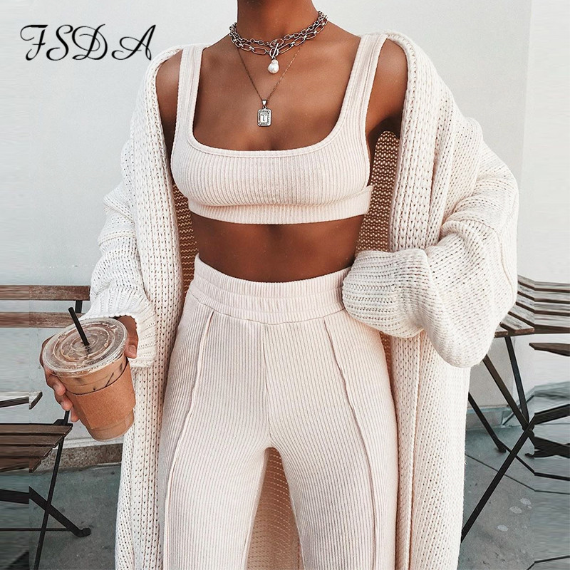 FSDA Women Set Summer 2020 Spaghetti Strap Crop Top Backless And Long Pants Jogging Casual Two Piece Sets Sports White Tracksuit