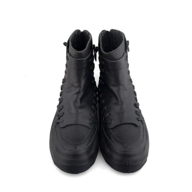High Street Men High-Top Shoes Luxury Hip Hop Shoes 100% Real Leather Zipper Ankle Boots Harajuku Black Platform Sneakers 35-44