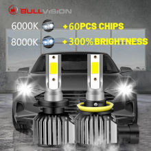 BULLVISION H7 LED far lambası araba motoru için H4 HB3 HB4 9005 9006 H11 H8 H9 Led ampuller 12000LM 90W otomatik Mini far tak ve çalıştır(China)