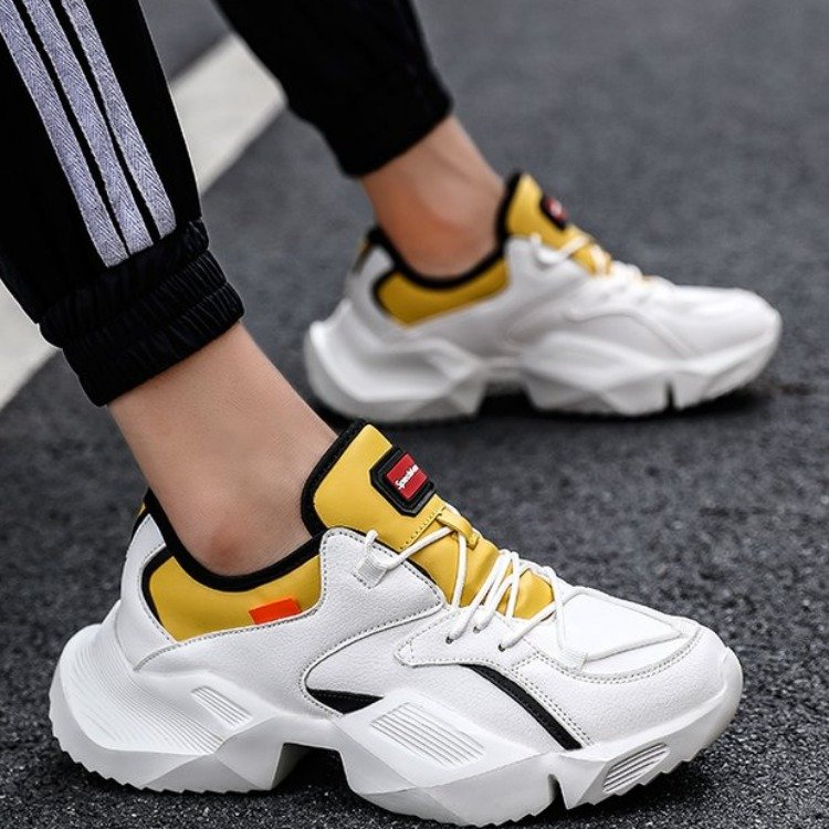 Hip Hop Mens Chunky Sneakers Lace Up Casual Shoes Tenis Sapato Masculino Retro High Platform Sneakers Basket Man Walking Shoes