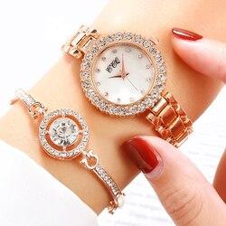 Vrouwen Armband Horloges Set Luxe Roestvrij Staal Horloges Voor Valentijnsdag Gift Relogio Feminino Reloj Mujer