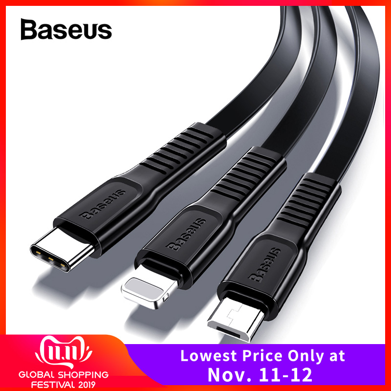 Baseus USB Cable For iPhone XS Max XR X 8 Fast Charging Charger USB C Cord Micro USB Type C Cable For Android Mobile Phone Cable-in Mobile Phone Cables from Cellphones & Telecommunications on AliExpress - 11.11_Double 11_Singles' Day
