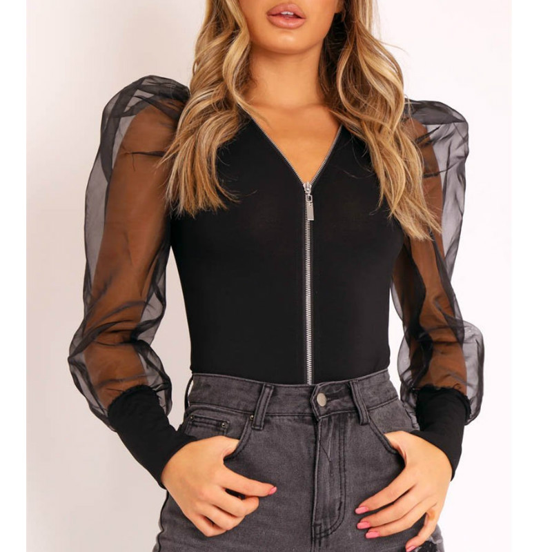 Sexy Solid Color Sheer Mesh  Puff Sleeve Zip Up Bodysuit Fashion Women Long Sleeve V-neck Skinny Bodysuit