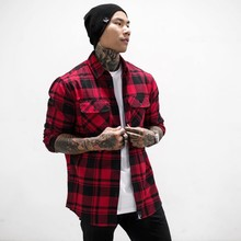 цена на Men Plaid Shirt Camisas Social 2019 Autumn Men's Fashion Plaid Long-sleeved Shirt Male Button Down Casual Check Shirt