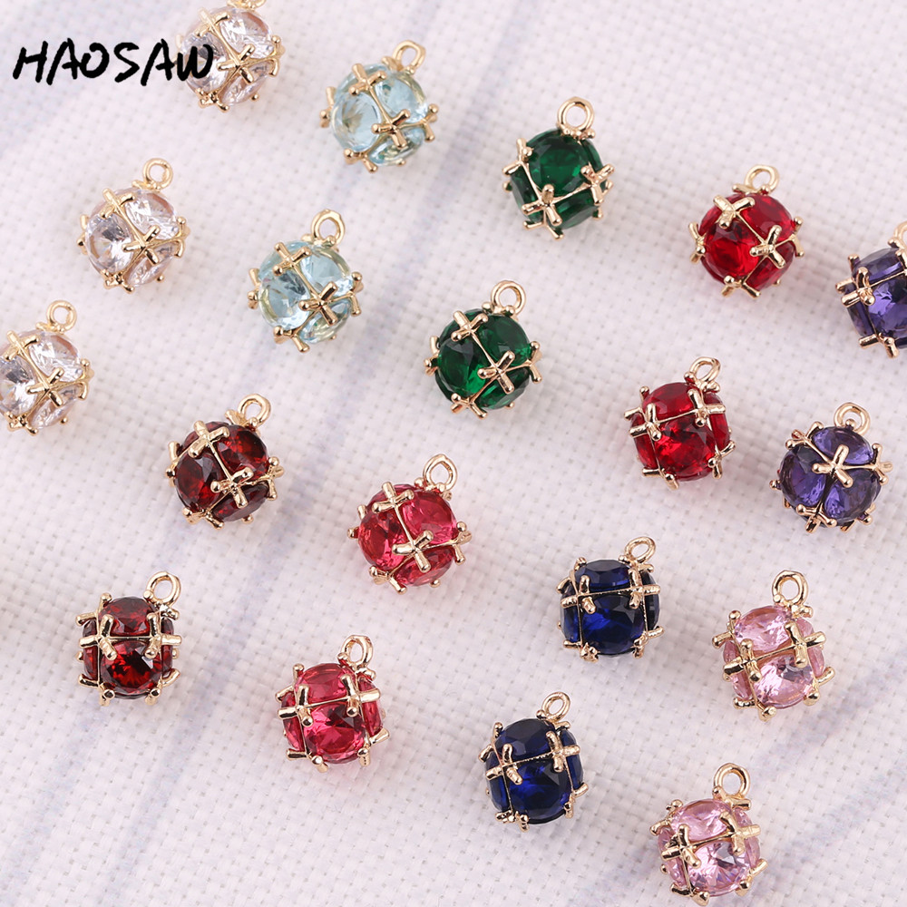 HAOSAW 11*14MM 4Pcs/Lot Round Glass/Crystal Charm/Cross Hollow/Ball Side/Jewelry Accessory/DIY Jewelry Making/Earring Findings