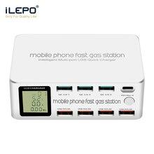 ILEPO 100W 8 Cổng USB Quick Charge 3.0 PD 3.0 Sạc Nhanh Adapter LCD USB Đa Năng Sạc Ga cho iPhone X XS Samsung