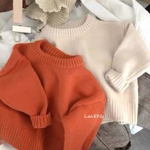Girls Sweaters Pullover Boys Solid-Color Kids Children Long-Sleeved Fall Warm Autumn