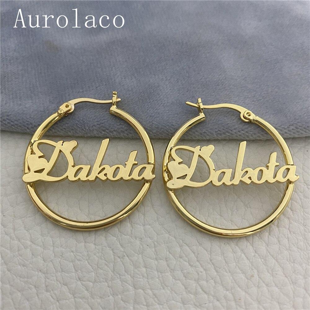 AurolaCo Custom Name Hoop Earrings Stainless Steel Customize Name Earrings Big Hoop Name Earrings For Women Gifts