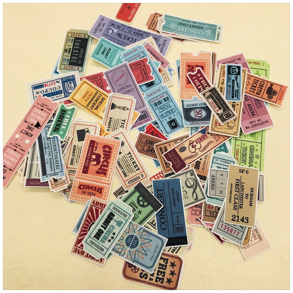 78Pcs/Lot Vintage Ticket Label Tags Sticker DIY Craft Scrapbooking Album Junk Journal Happy Planner Decorative Stickers