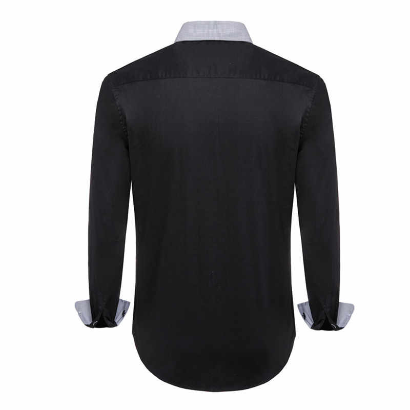 Ukuran Kemeja Pria Lengan Panjang Baru Ukuran Besar Kemeja Katun Pria Sosial 8XL 7XL 6XL 5XL Solid warna Pakaian Pria N5135