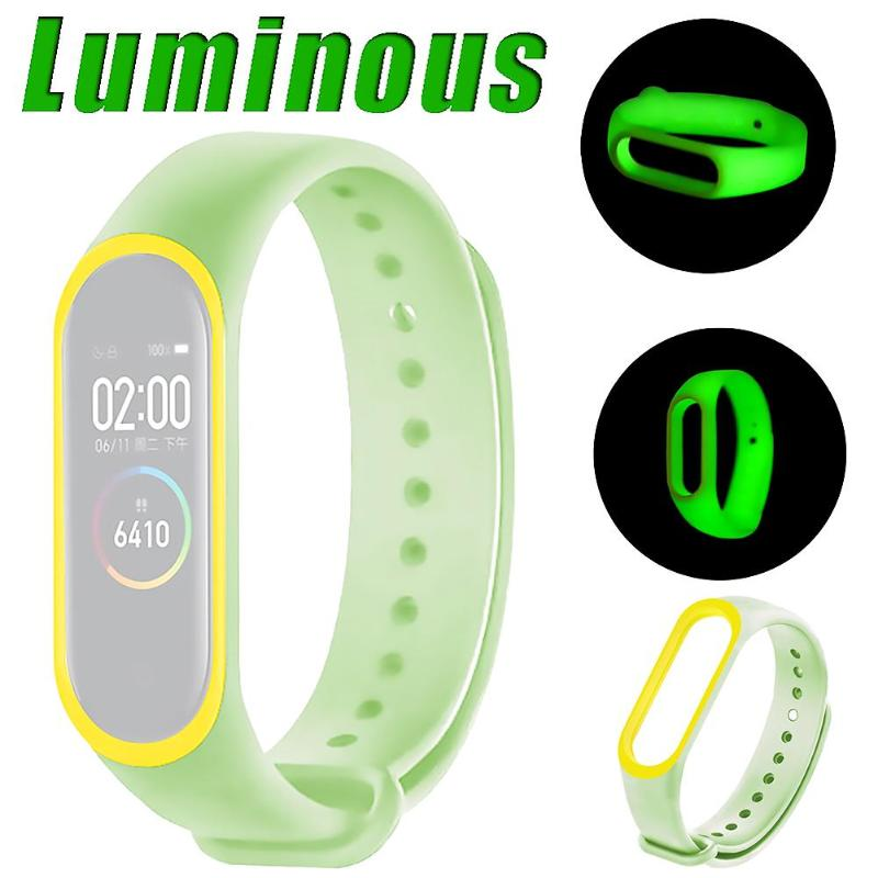 Luminous Silicone Soft Wristband Strap For Mi Band 4 Universal Silicone Luminous Belt Replacement For Xiaomi Mi Band 3 4 Strap