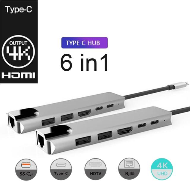 C tipi rj45 hdmi PD tipi C şarj portu 6 In 1 Hub Gigabit Ethernet Lan 4K mac kitap Pro için Thunderbolt 3 USB C şarj cihazı