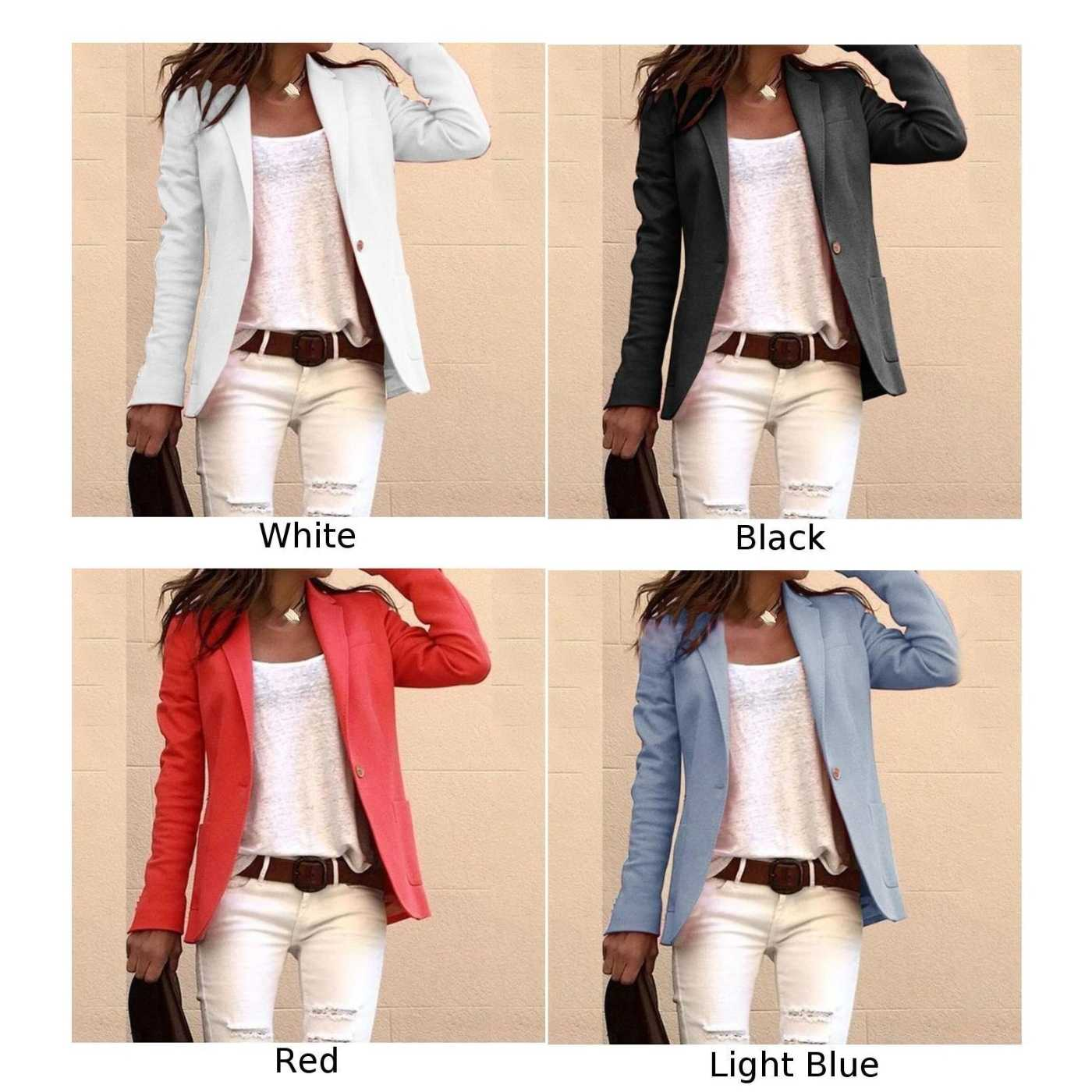 Femmes manteau bureau automne décontracté mode travail revers col décontracté Cardigan dames un bouton manteau Slim bureau
